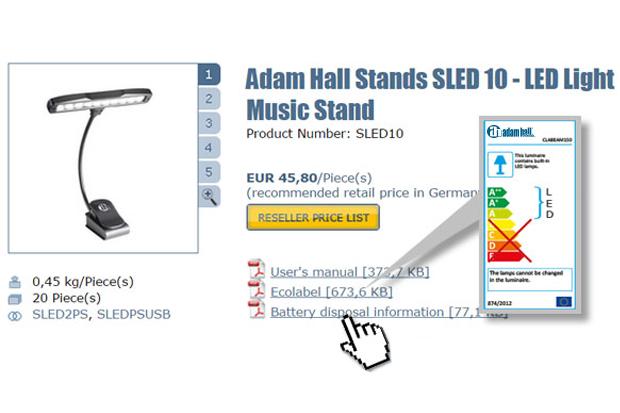 Etiquetado energético UE en el sitio web de Adam Hall